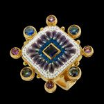 Antique, golden ring with stones and micromosaic by Le Sibille, on black background