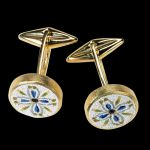 Bukara, golden cufflinks with stones and micromosaic by Le Sibille, on black background