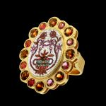 Baroque, golden ring with stones and micromosaic by Le Sibille, on black background